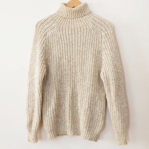 Vintage Chunky Knit Cream Turtleneck Sweater